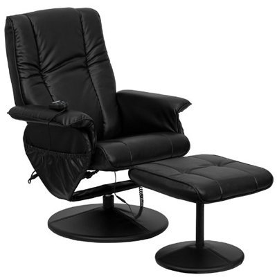 Massaging Black Leather Recliner & Ottoman